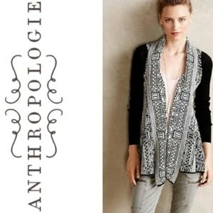 Anthropologie Field Flower Stamped Jacquard Cardi